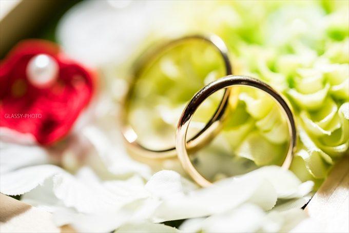結婚指輪をアップで