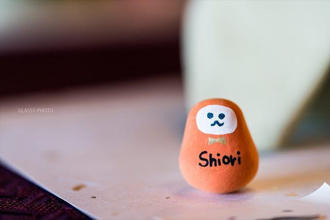 新婦さん手作りのダルマさん席札 オレンジ