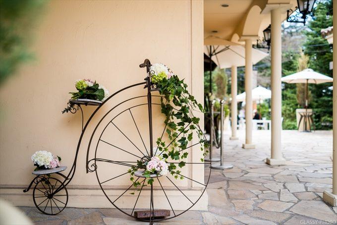 飾り物の自転車もオシャレを演出しています