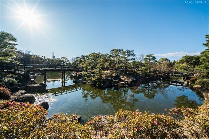池と橋と太陽がいい感じです