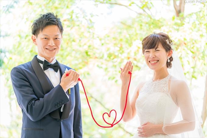 お二人持ち込みの赤い糸。ハートでつながっております