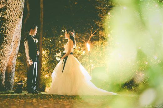 夜のガーデンでツーショット写真撮影! ザ ナンザンハウス THE NANZAN HOUSE 名古屋市 昭和区 汐見町 結婚式 写真 カメラマン