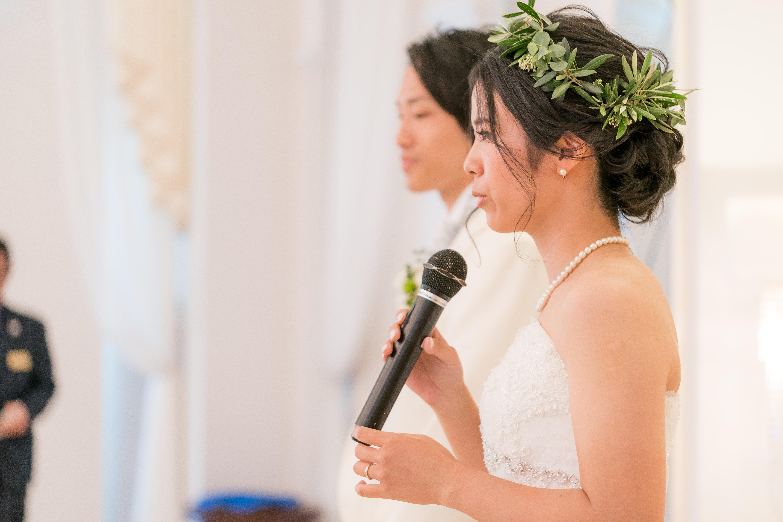 ウェルカムスピーチをする花嫁