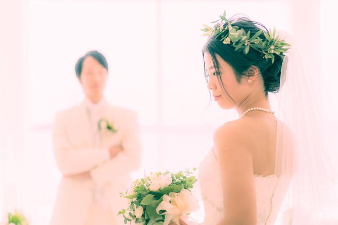 ブーケを持った花嫁の横顔