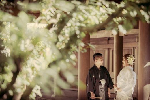 三島大社のお庭で楽しく会話をする新郎新婦