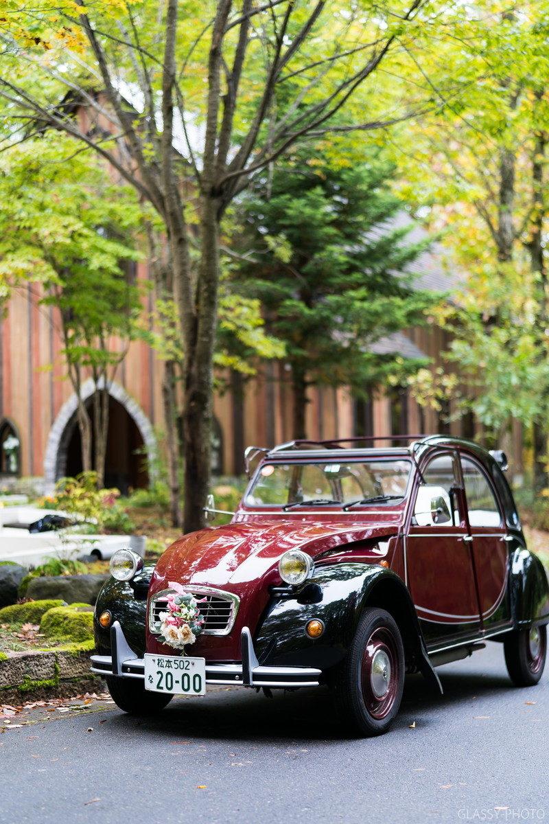 ホテルシェラリゾート白馬の花嫁専用車はかわいいクラシック